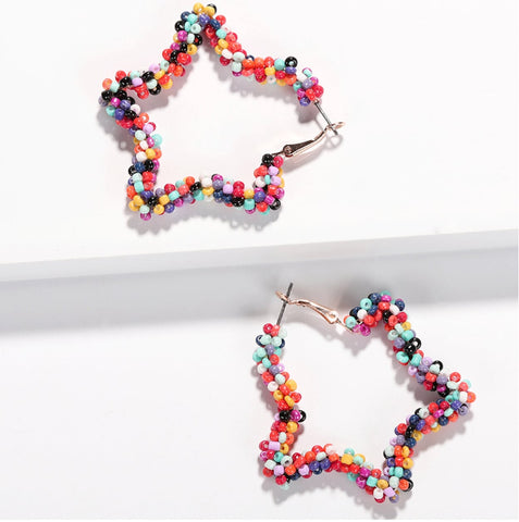 Beaded Star Hoop Earrings