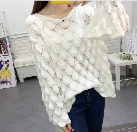 Womens Open Knit Bell Sleeve Top