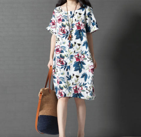 Womens Breezy Linen Floral Dress