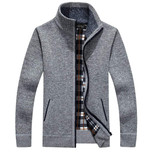 Mens Stand Collar Slim Fit Zipper Cardigan