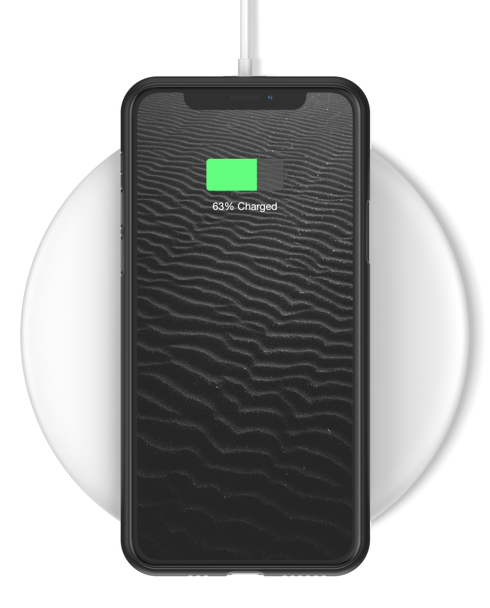 Cell phone wirelessly charging with Mason phone case