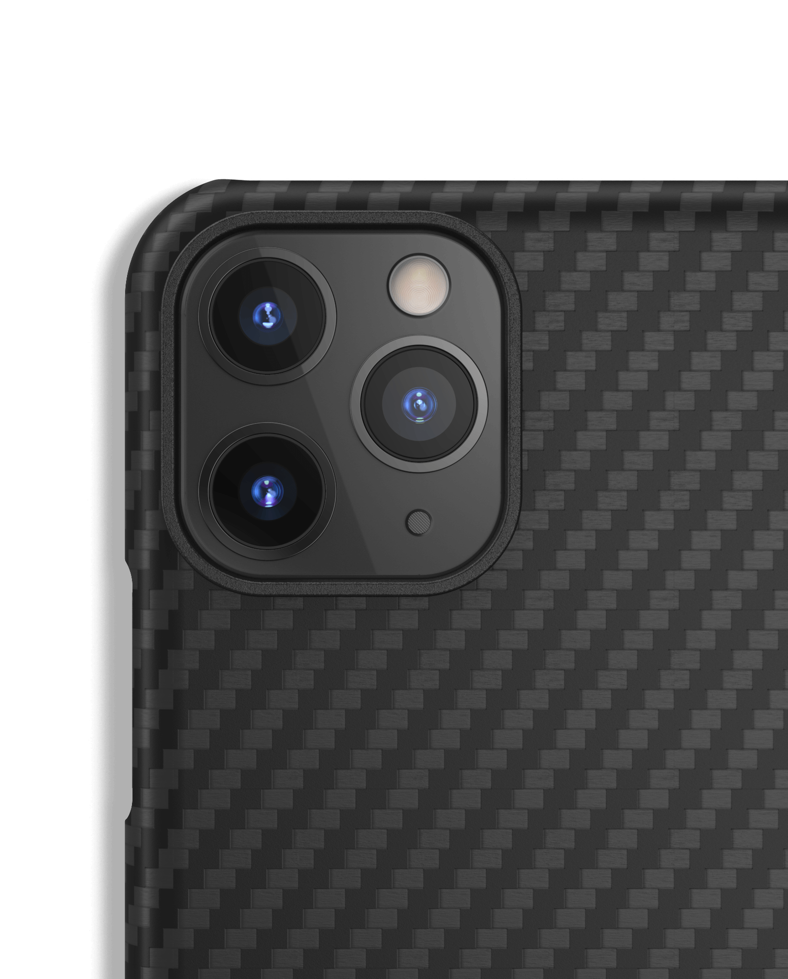Close up of camera on cell phone with Mason aramid fiber case