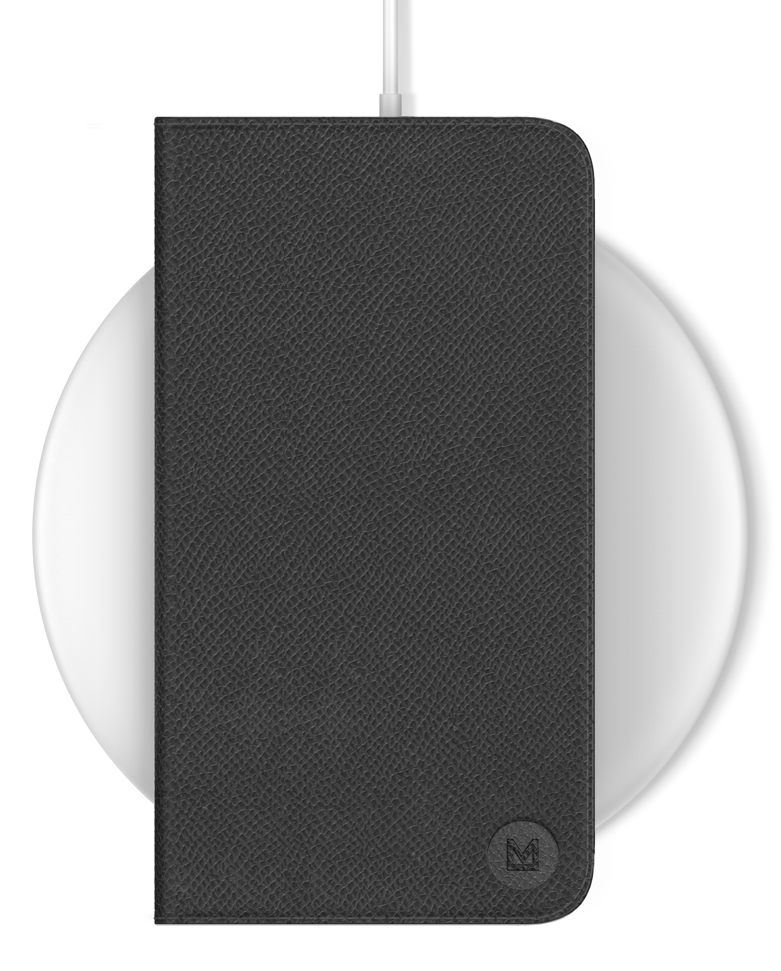 Cell phone wirelessly charging with Mason folio case