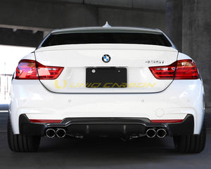BMW F32 F33 F36 3D Performance Style Carbon Diffuser (Quad Tips)