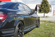 C63 W204 V-Style Carbon Fiber Side Skirt