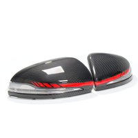 Mercedes W205 W213 W222 C217 Carbon Fiber Mirror Replacement (Red Stripes)