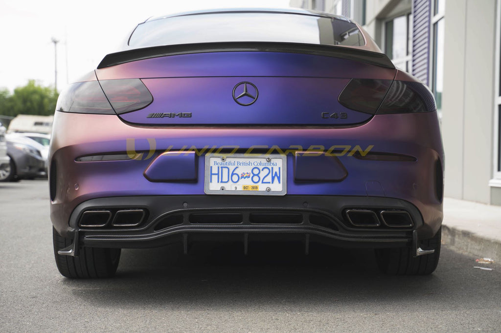 W205 C63S Coupe GTC Carbon Style Diffuser 3/Pc