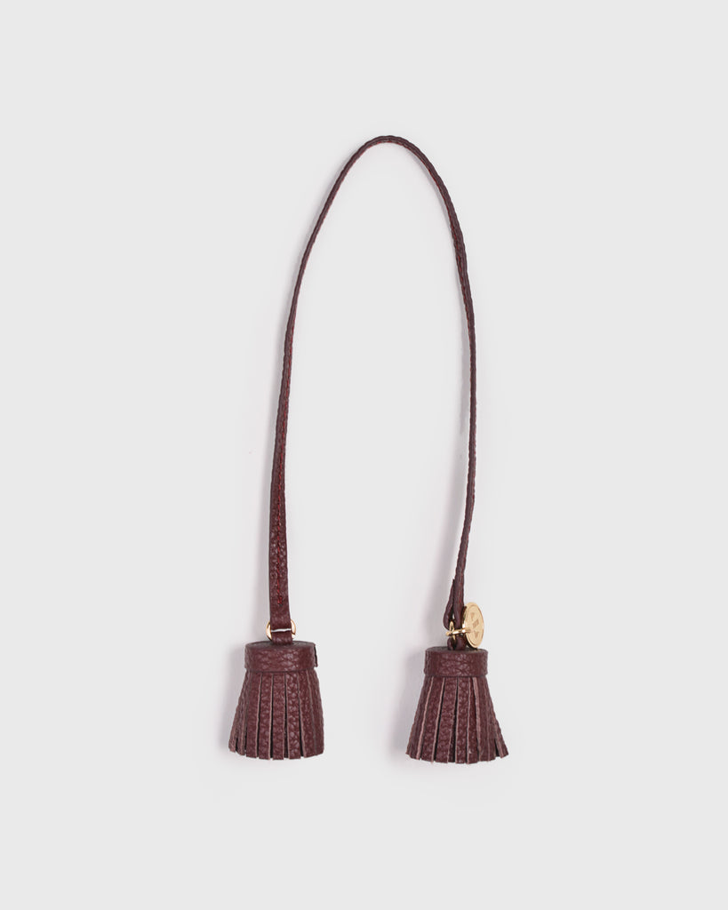 Aimee Leather Twin Tassel (Burgundy)