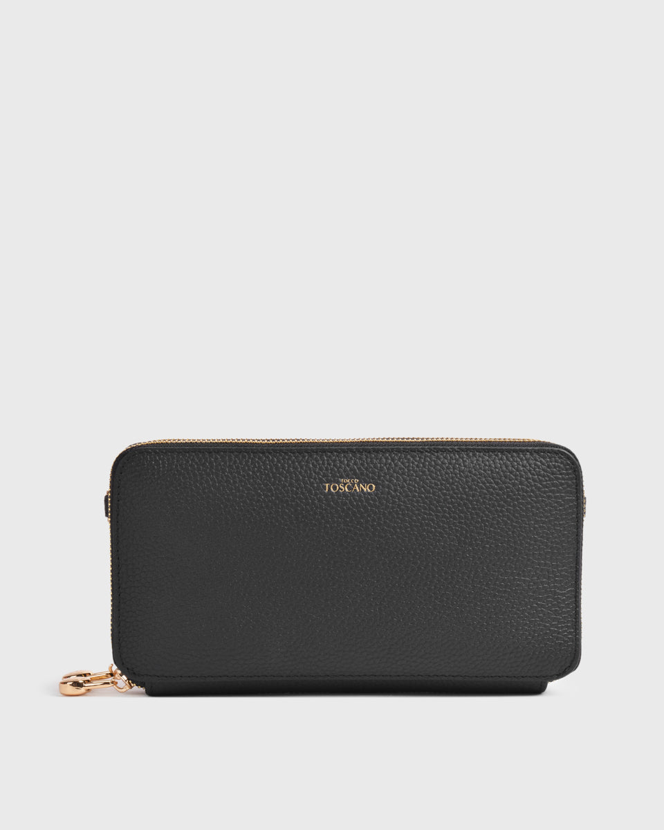 Aimee Dual Zip Around Long Wallet (Black)