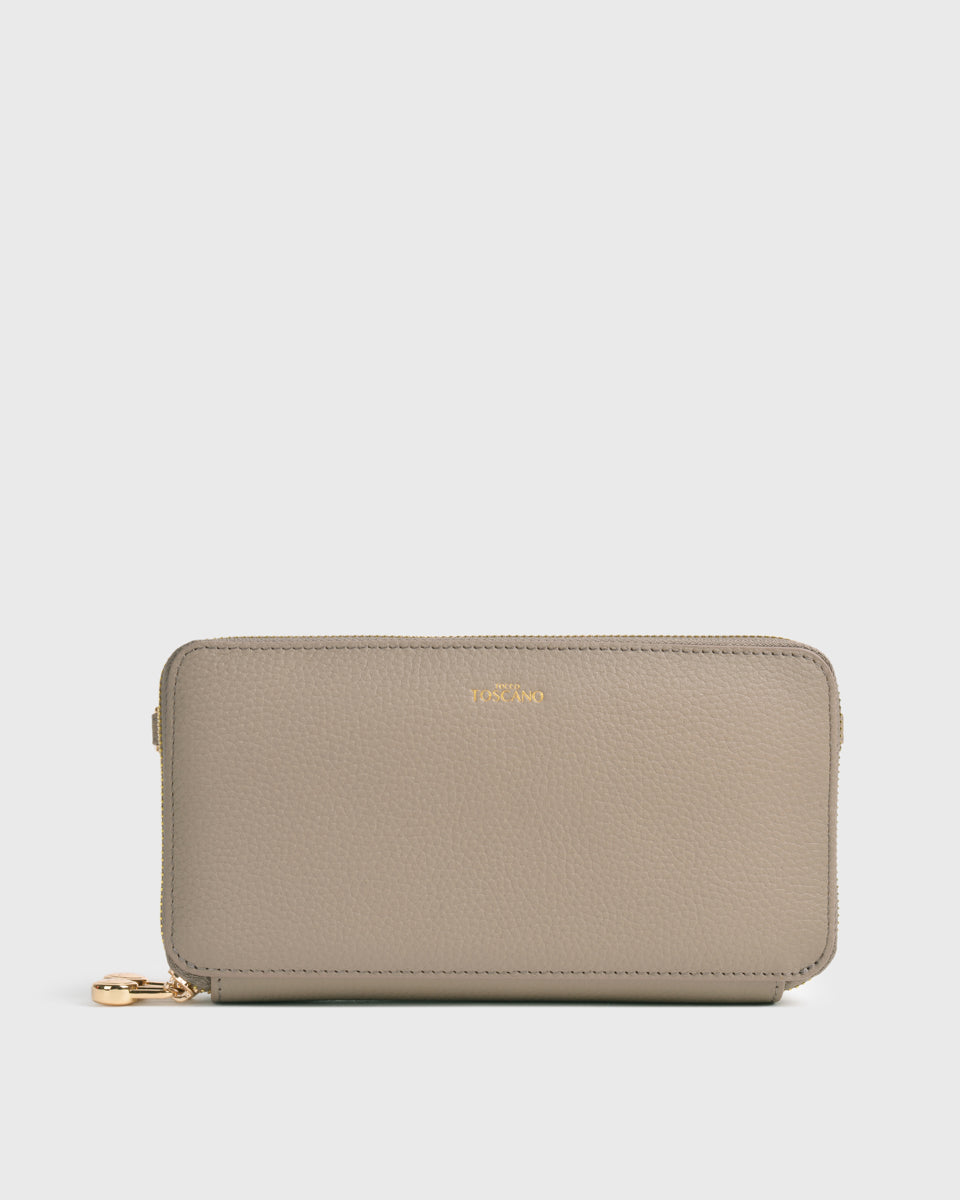 Aimee Dual Zip Around Long Wallet (Grey)