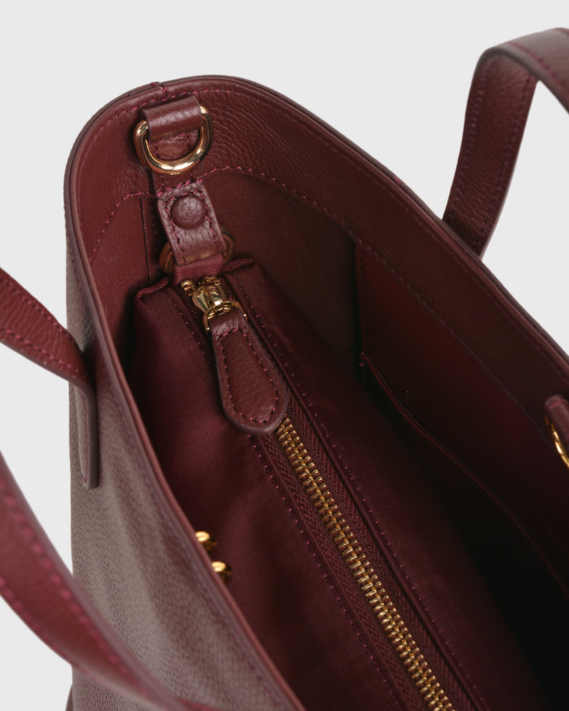 Aimee Mini Leather Tote (Burgundy) | Pre-order