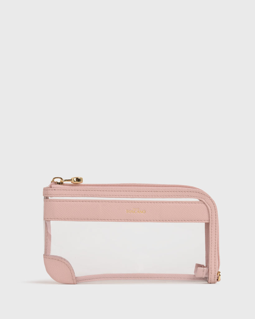 Maya Clear L-zip Pouch (Dusty pink)