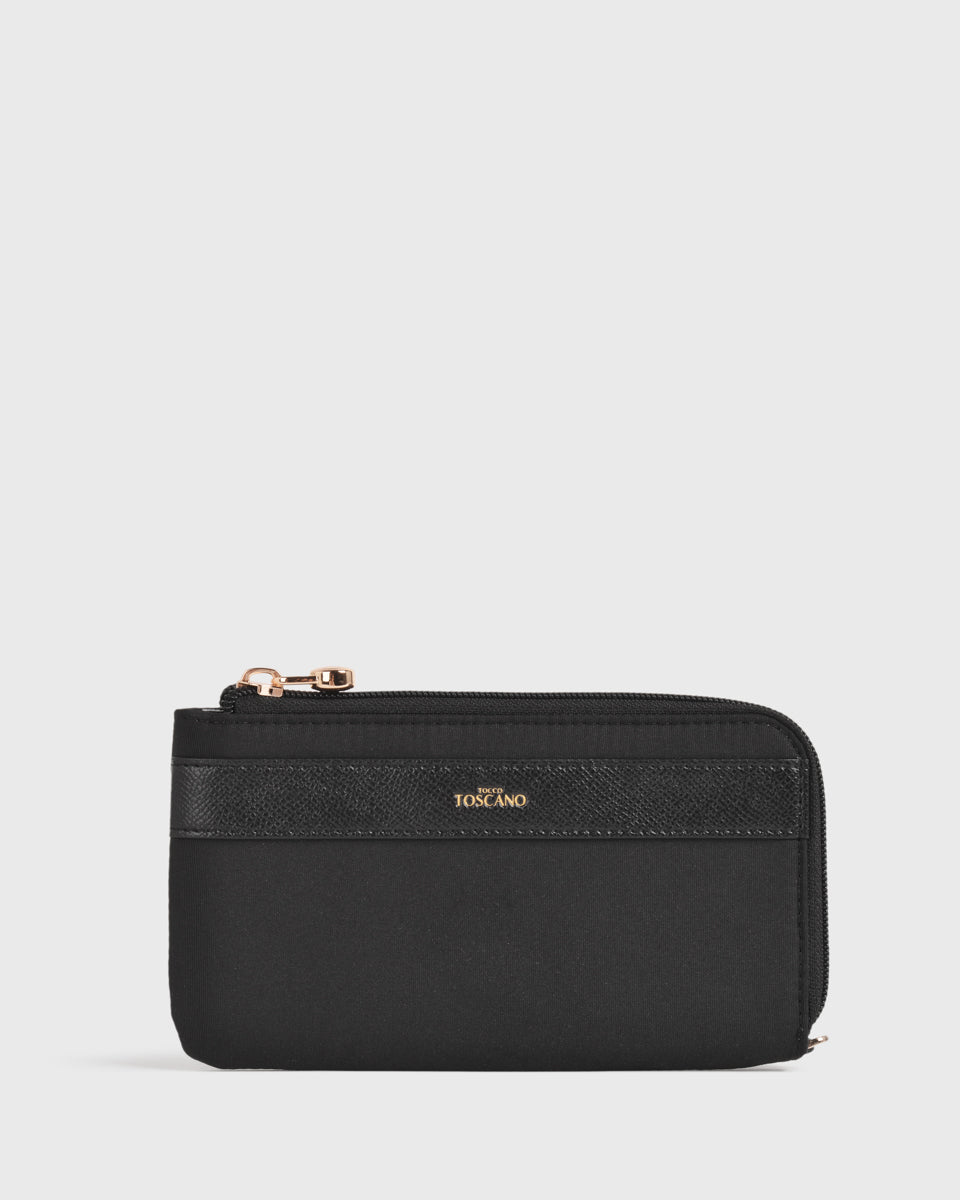 Maya Nylon L-zip Pouch (Black)