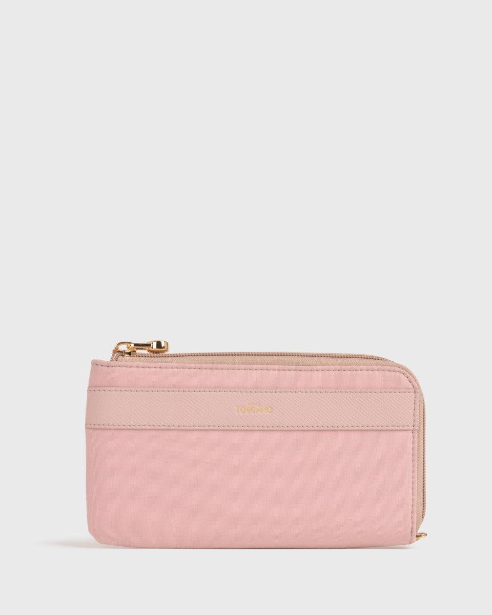 Maya Nylon L-zip Pouch (Dusty pink)