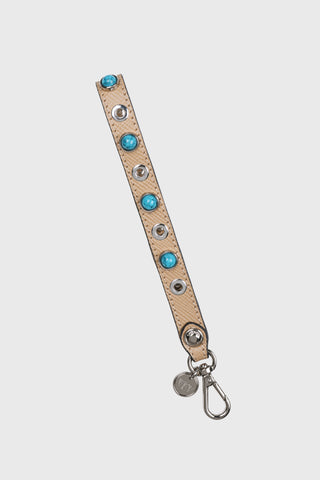 30mm Leather Bag Strap w/ Flower Cutouts and Enamel Studs (Beige)