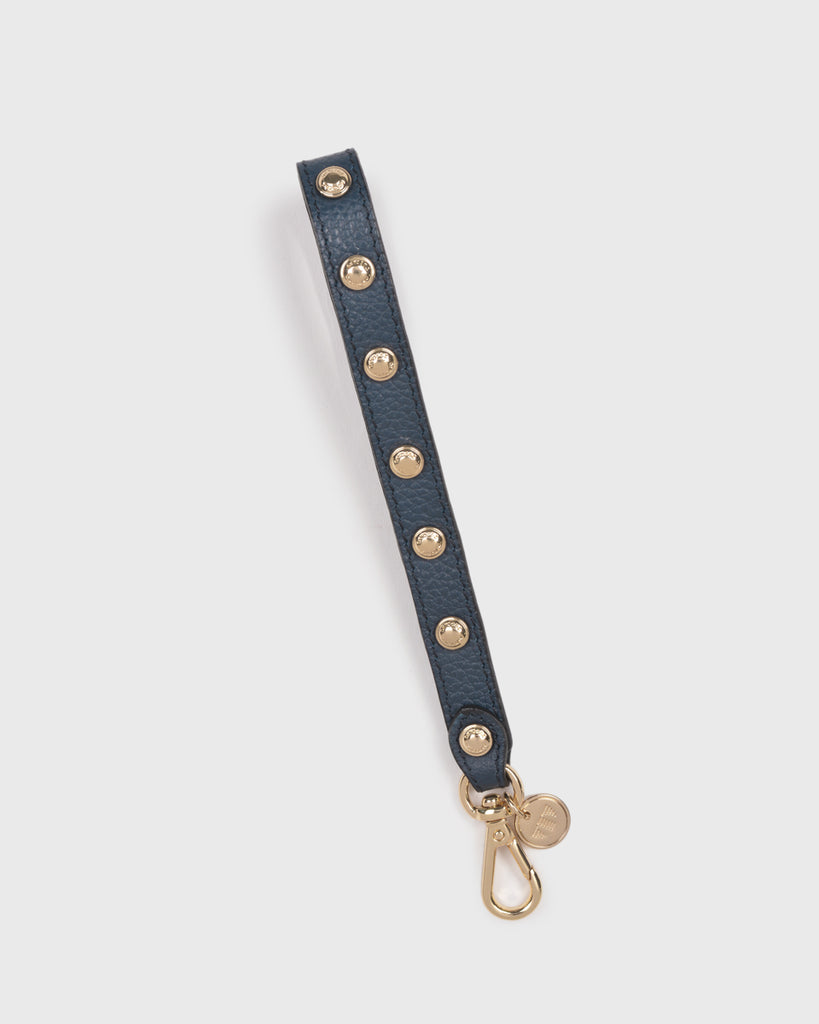 Leather Wristlet Strap w/ Stud (Navy)