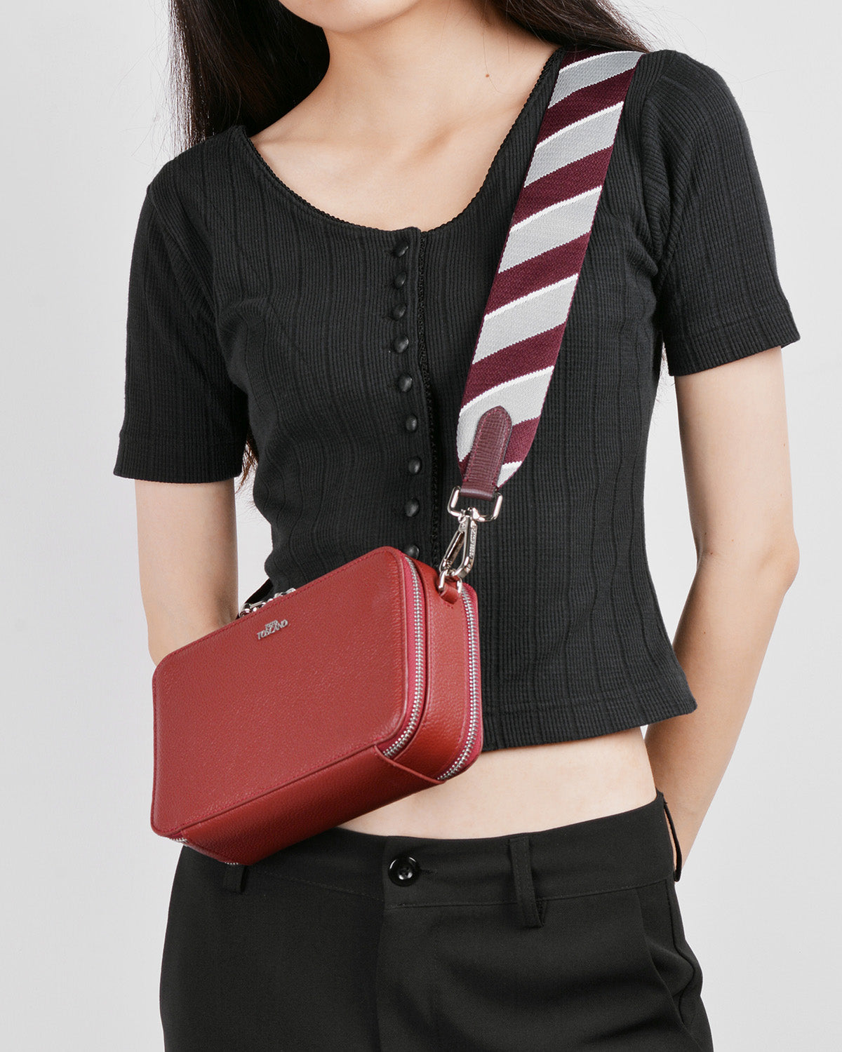 Webbing Bag Strap (Burgundy/Grey)
