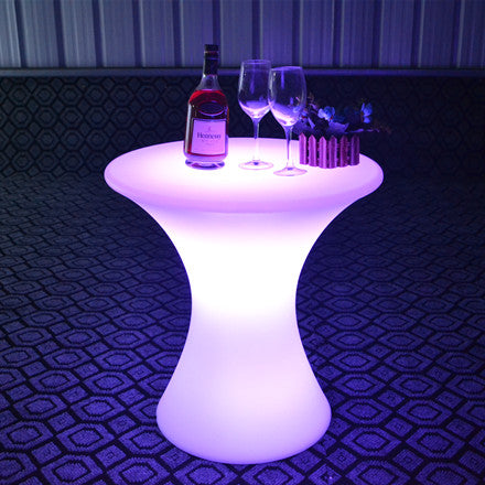 led illuminated cocktail table for party pink