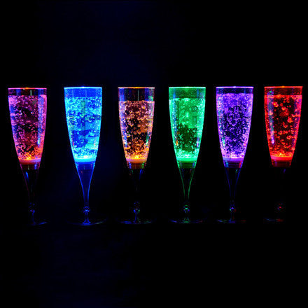 LED champagne wine glasses are sure to impress your guests.  There are five modes to choose from: red, green, blue, white, or slow color change.