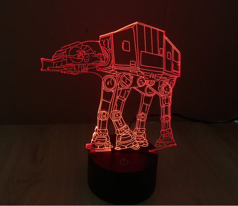 3D AT-AT Walker Lamp Star War Led Night Light Table Light Kids Room Bedroom Gift
