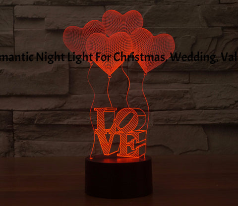 3D LED Romantic Night Light For Christmas, Wedding, Valentine love