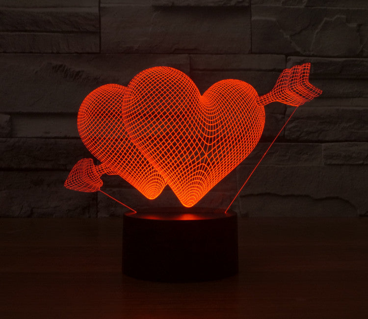 Awesome 3D Lamp Optical Illusion Visual Cupid Heart Shape Led Night Light For Lover  ... Design