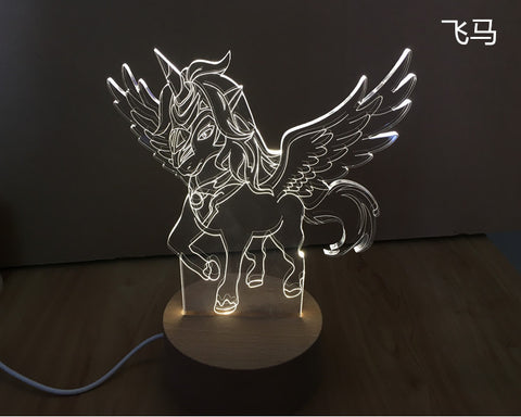 3D Night Light fly Horse Nice Gift Toys Decorations