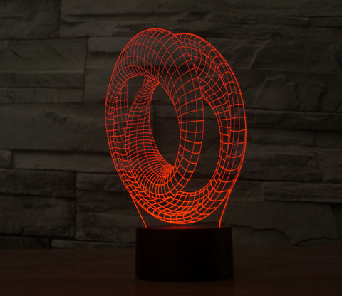 3D Abstract Spiral Double Loop Circle Panel illusion LED night light Lamp