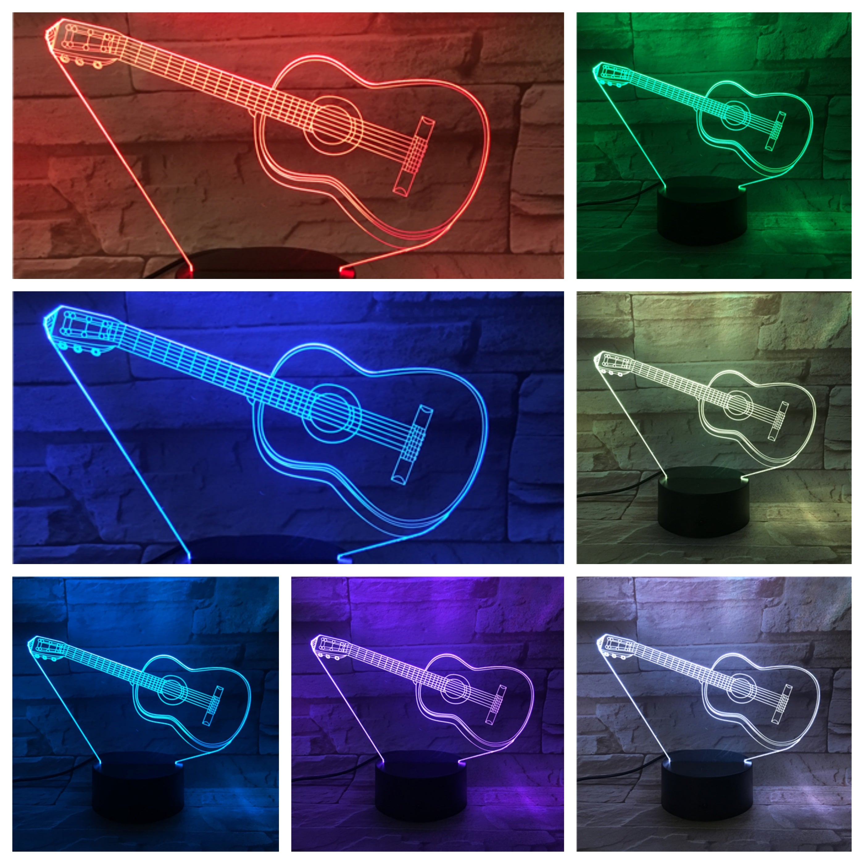 3D Night Light Lamp Acrylic Colorful French Horn Musical Instrument Gift Family