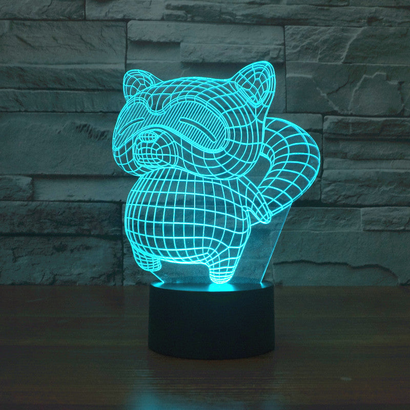 52e2150ac Kawaii Cartoon Rocket Raccoon Acrylic 3D LED Night Light Toy Gift – LU QING  WEN