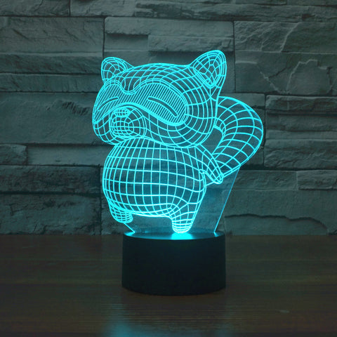 Kawaii Cartoon Rocket Raccoon Acrylic 3D LED Night Light 7 Color Change Toy Gift