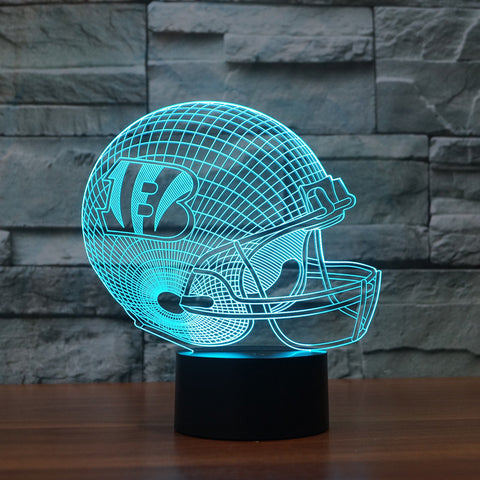 3D led logo light on helmet|Cincinnati Bengals|Slong light furniture