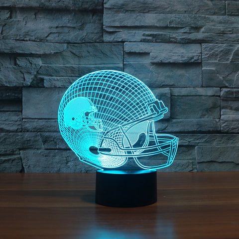 3D Glow LED Lamp Football Helmet Design Slong Night Light For Home Decoration
