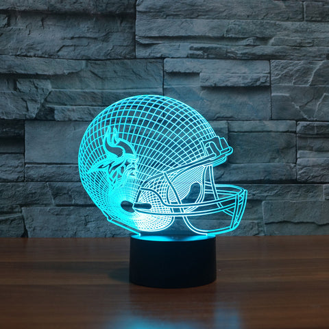3D American football helmet| Minnesota Vikings team led light furniture
