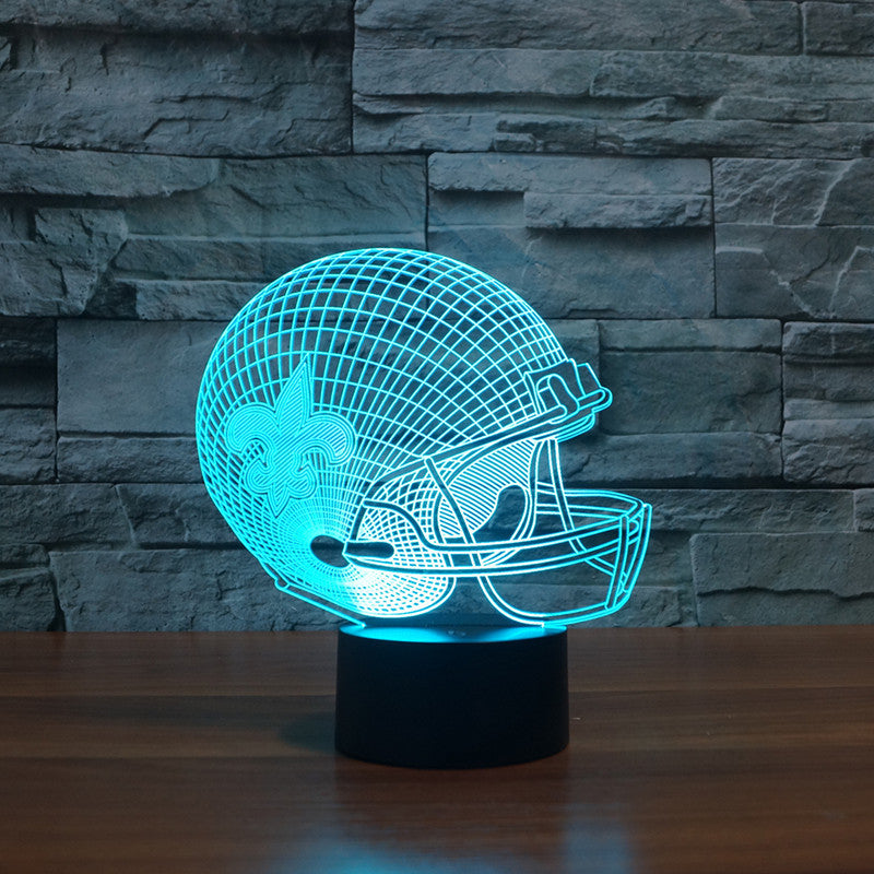 Attirant New Orleans Saints Team |3D Effect American Football Helmet|led Light U2013 LU  QING WEN