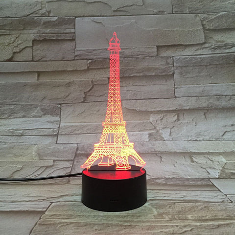 3D Lamp Building of Paris Eiffel Tower Pretty Present for Girls Atmosphere Dropship 7 Color with Remote Led Night Light Lamp
