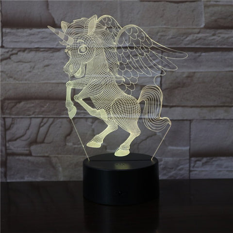 3D Lamp animal The unicorn lovely decoration for office fast delivery touch sensor led night light lamp