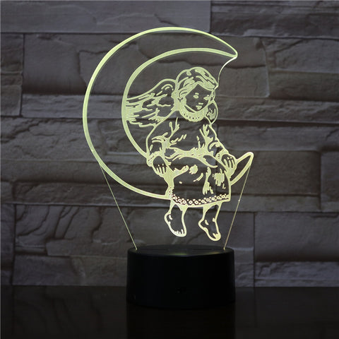 3D Lamp The Moon Angel Lovely Reward for Girls for Indoor Decoration Touch Sensor Bright Base Led Night Light