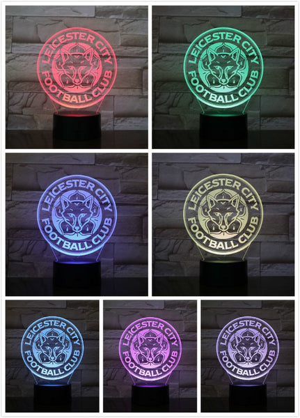 LED Night Light Leicester City Football Club 3D Illusion Premier League FC Soccer Logo The Foxes night lamp table bedside Kids