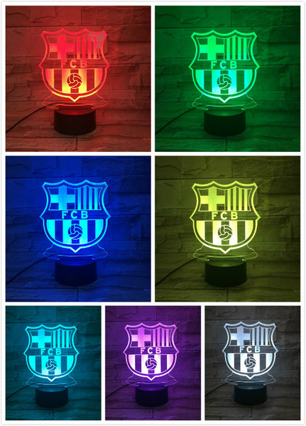 LED Night Light Football Club FC Barcelona 3D Illusion decorative lights Children Kids Gift night lamp table bedside Decor Logo