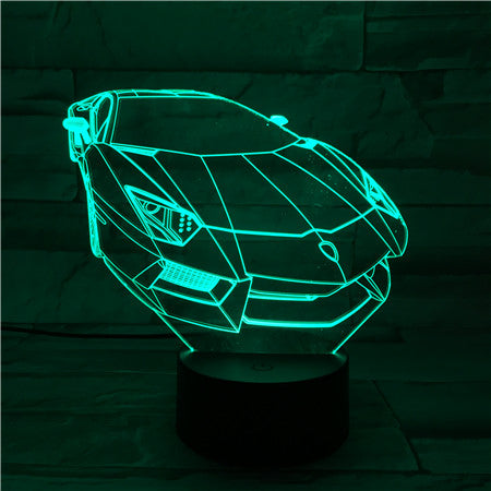 3D Acrylic Color Changing Lamp Fascinating Car Shaped 3D Visual Led Night Light Usb or Battery Operation Touch Sensor Nightlight