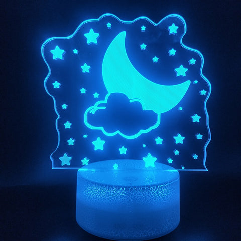 3D Lamp The Stars and The Moon Awesome Present for Kids Color Changing for Indoor Decoration Led Night Light Lamp