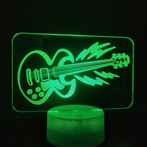 3D Lamp 7 Colors with Remote The Guitar Realistic Present for Musician Indoor Decoration Led Night Light Lamp