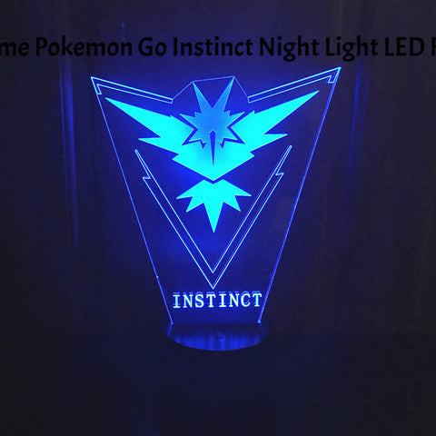 3d Game Pokemon Go Team Instinct Night Light LED Furnish Desk Table Decoration Toys
