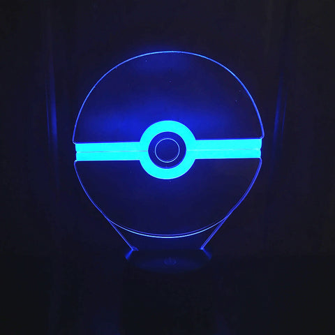 3D Effect Pokemon Ball 7Color Change LED Night Light Touch Lighting Pokeball Toys Gift