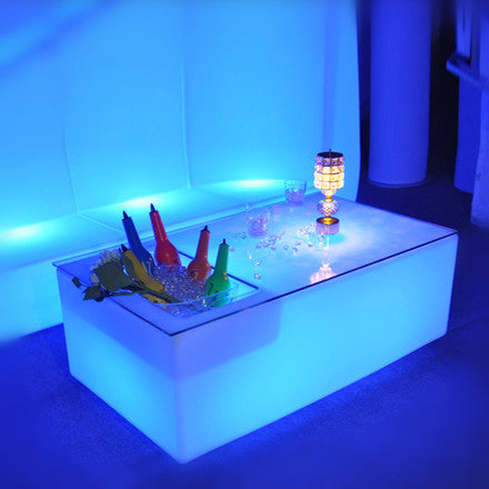 Rectangular LED Low Bar Table With Wine Cooler