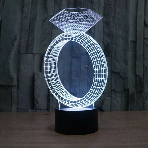 3D Illusion Ring with Diamond Night Light effect model 7 Color Change Desk Lamp LED Table Light Intelligent Remote Control