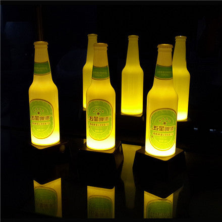 artificial beer bottle glowing led table lamps yellow