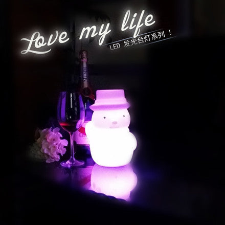 christmas snowman led night table light