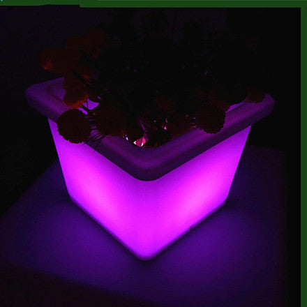 cubic square flashing led flower pot